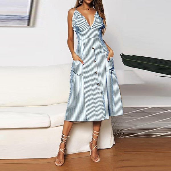 Sexy Fashionable Stripe Flounces Sling Dress