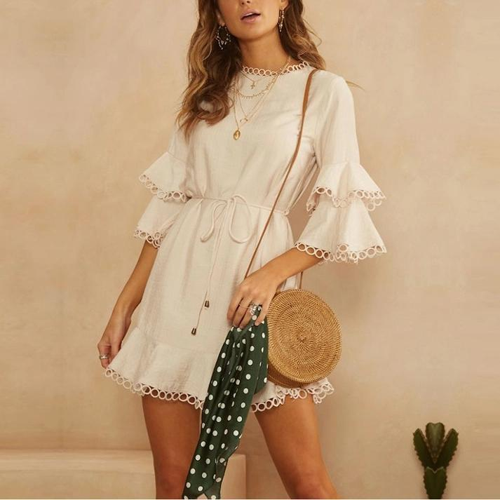 Solid Color Lace Horn Sleeve Dress