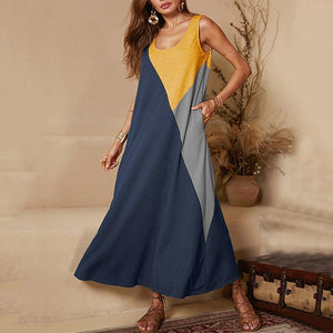 Casual Round Neck Splicing Contrast Color Dress