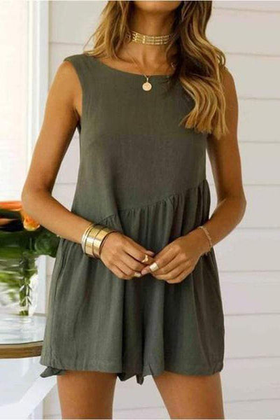 Round Collar Pure Color Sleeveless Loose Dress