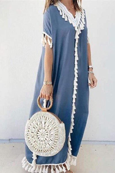 Vintage V Neck Tassel Splicing Loose Dress