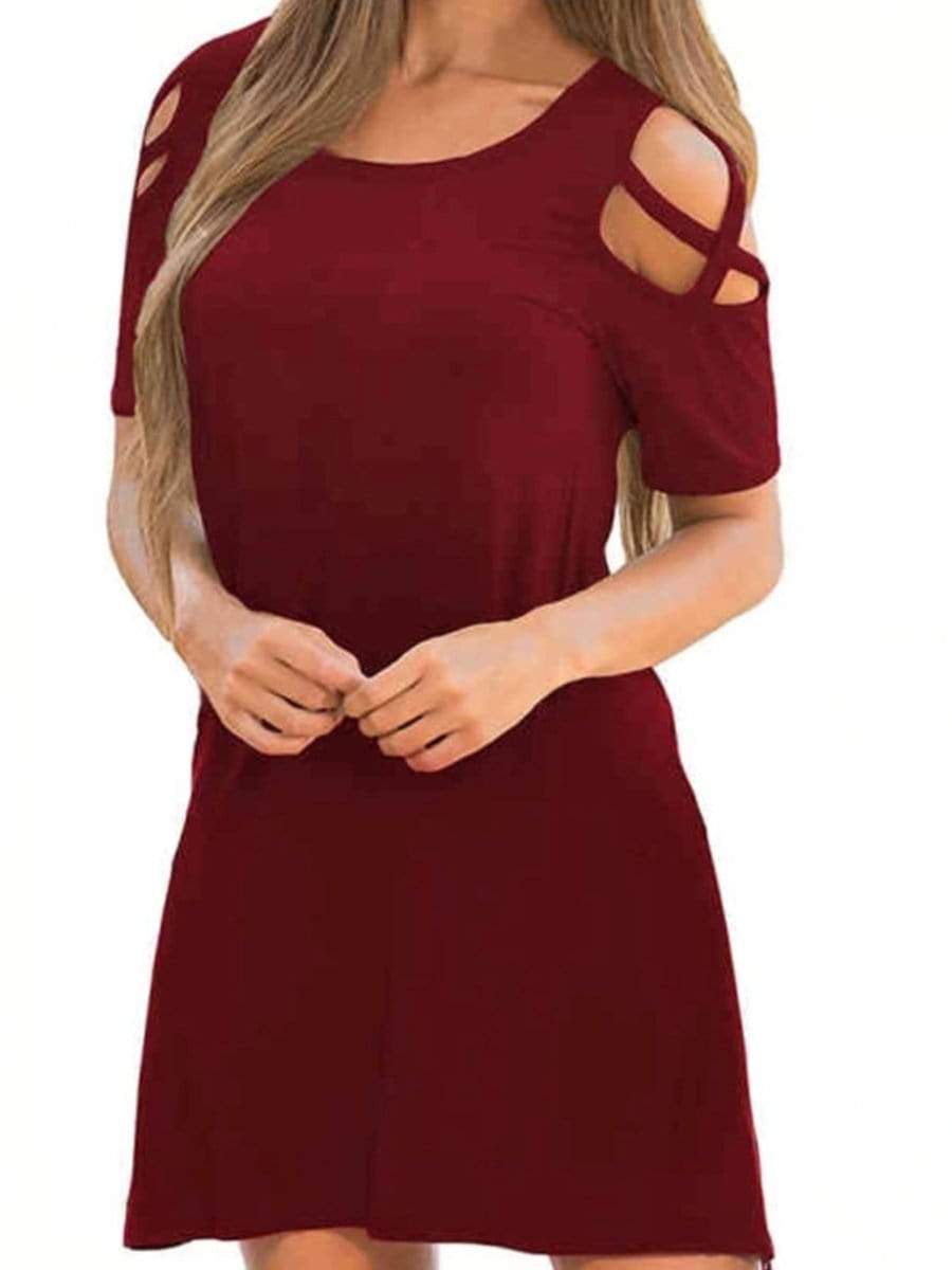 Round Neck Hollow Out Casual Dresses