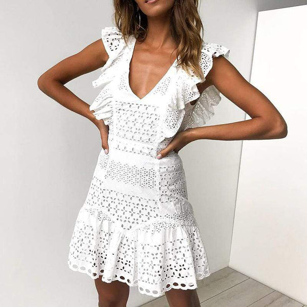 V-Collar Lace Splice Hollow Leaf Edge Dress