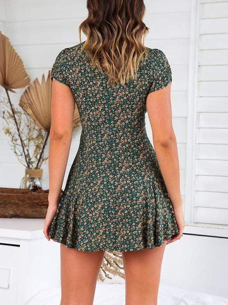 V-Neck Short-Sleeved Printed Slim Sweet Zip Dress ( Video )