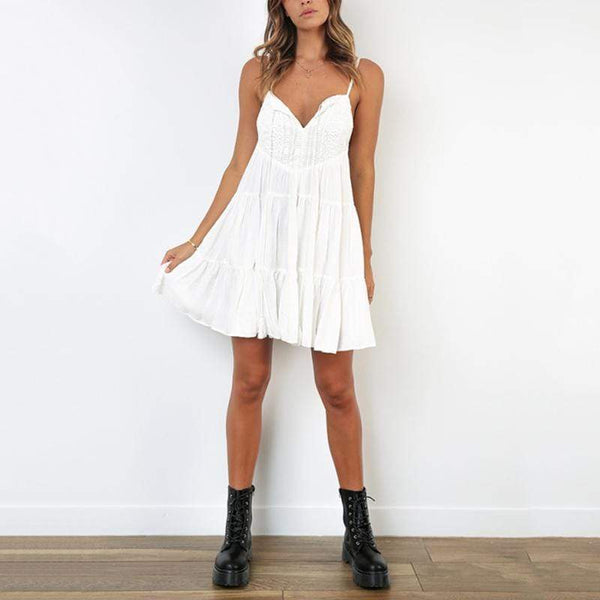 Sexy V Neck Sleeveless Splicing Off-Shoulder Bare Back Dress