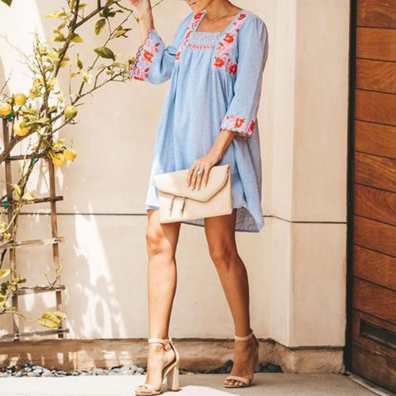 Fashion Embroidered Long Sleeves Dress