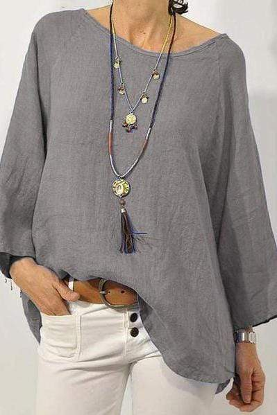 Solid Color Cotton And Linen Round Neck Wrist Sleeve