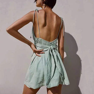 Sexy V Neck Belted Off-Shoulder Bare Back Pure Colour Dress
