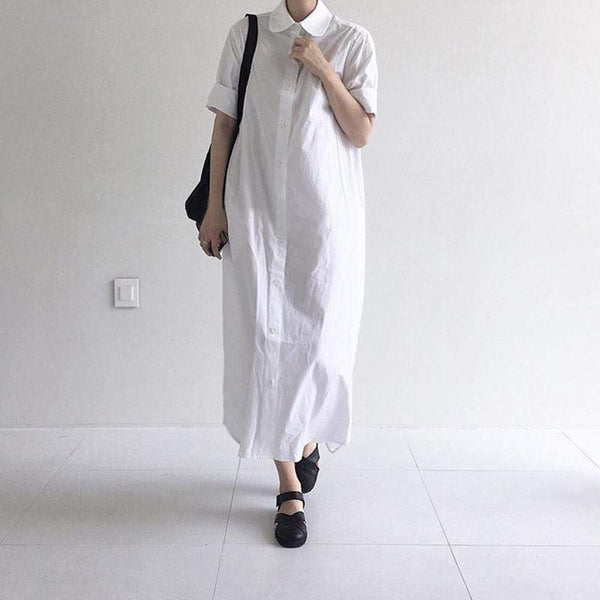 Casual Lapel Pure Color Loose Shirt Dress