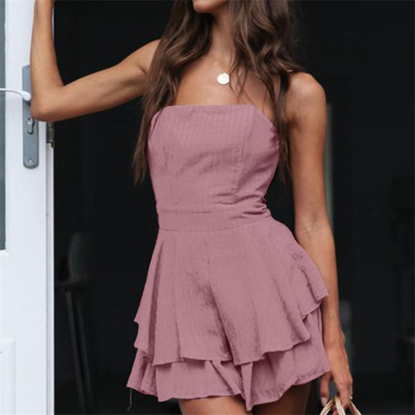 Sexy One Word Collar Sleeveless Lotus Leaf Edge Mini Dresses