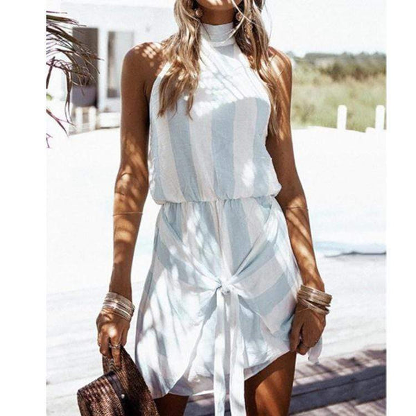 Fashion Stant Collars Stripe Sleeveless Dress
