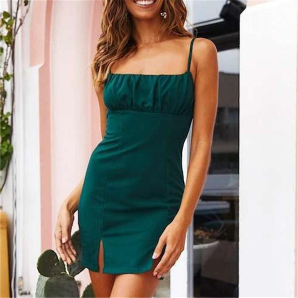 Sexy Sling Open Forked Irregular Mini Dresses