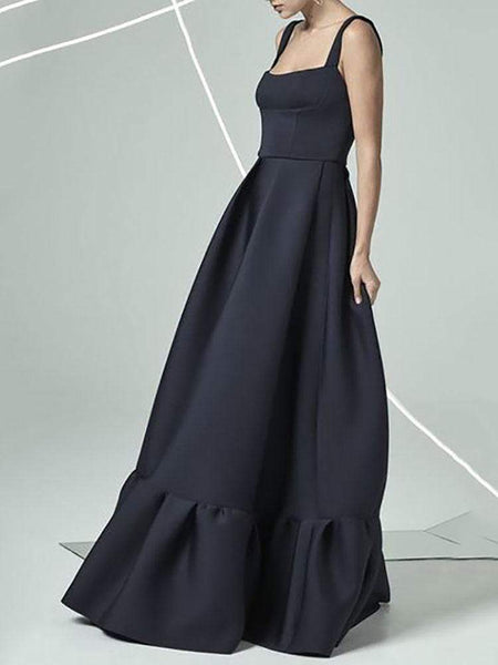 Commuting Sleeveless Bare Back Off-Shoulder Pleated Dress