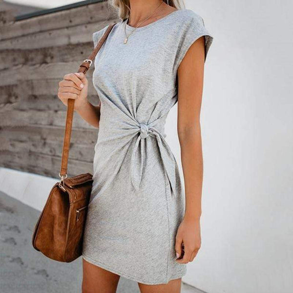 Casual Round Neck Short Sleeve Belted Pure Colour Dress