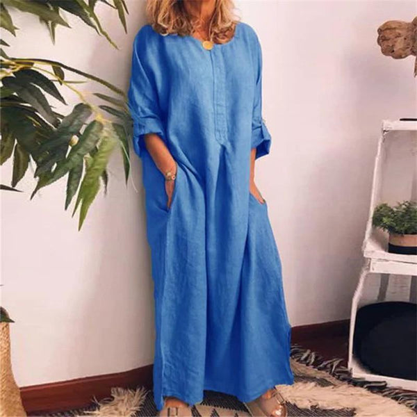 Fashion Cotton And Hemp Pure Color Casual Dresses