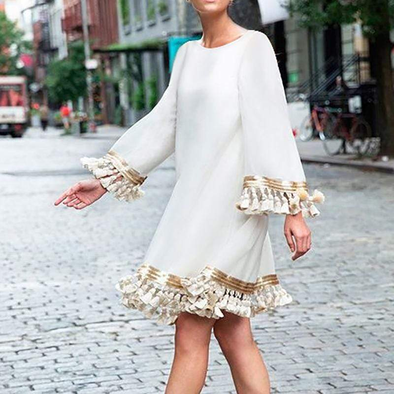 Bohemian Round Neck Tassel  Dress