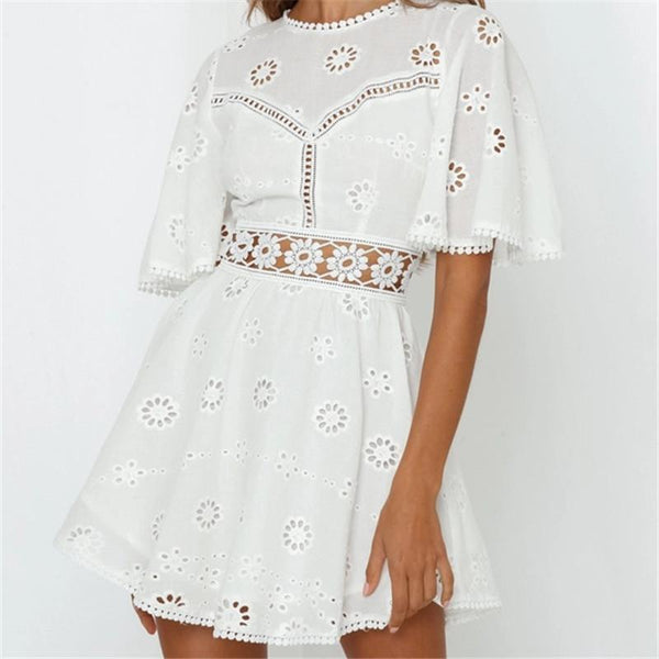 Sexy Lace Hollow Horn Short Sleeves Mini Dresses
