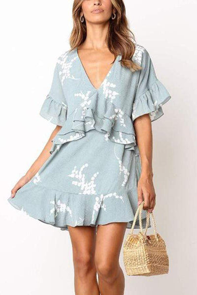 Elegant V Neck Elegant Halflong Sleeve Printed Colour Dress