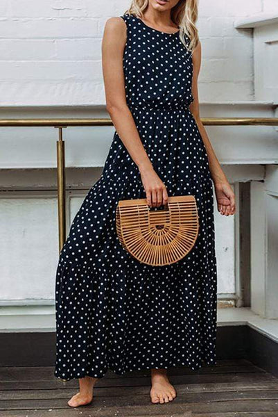Polka Dot Round Collar Sexy Button Dress
