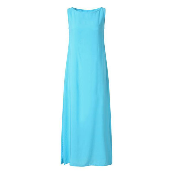 Pure Color Round Collar Sleeveless Extended Dress