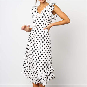 Sexy V Neck Lotus Edge Polka Dot Casual Dresses
