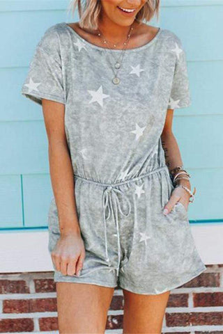 Fashion Short Sleeve Star Printing Casual Jumpsuits