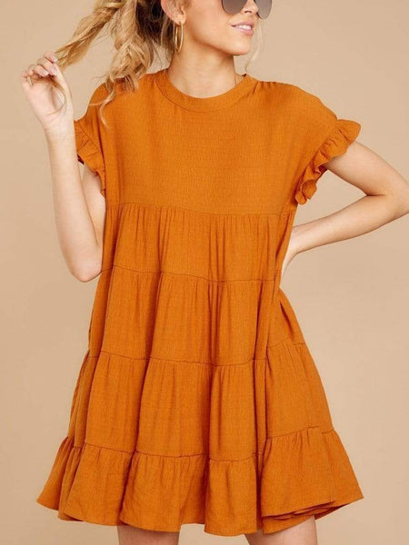 Round Neck Ruffled Short-Sleeved Loose Dress