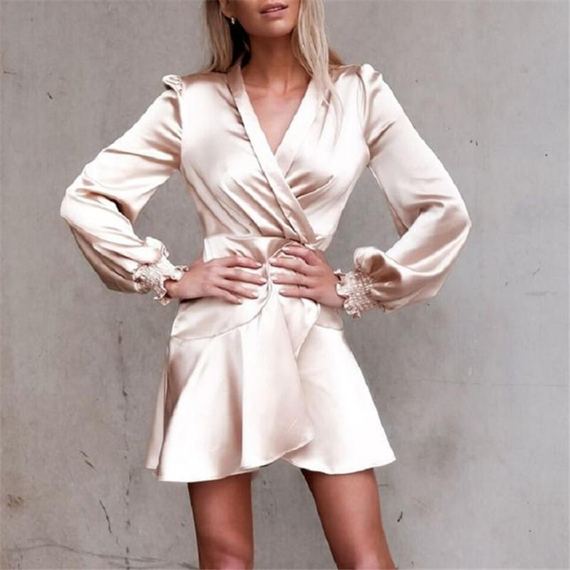 Fashion V Collar Long Sleeve Solid Color Mini Dresses