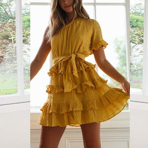 Sweet Pleated Belted Sloping Shoulder Splicing Dress