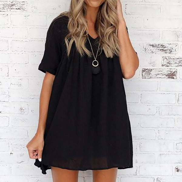 Summer Fashion V-Neck Creased Loose Waist Dress