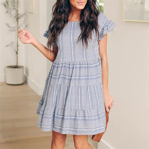 Women Sexy Striped Pleated Lotus Sleeve Mini Dresses