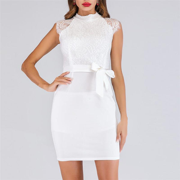 Women Spliced Lace Waist Dress Bodycon Dresses