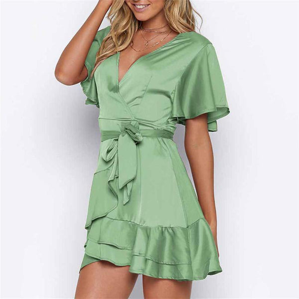 Sexy V Neck Lotus Edge Women Short Sleeve Mini Dresses