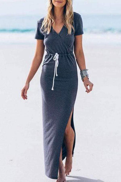 Casual Short-Sleeved Waist Split   Dress