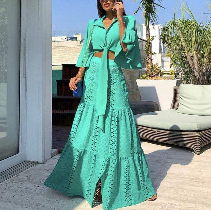 Elegant Pure Colour Turndown Collar Ruffled Hollow Out Suit