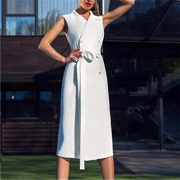 Women Sleeveless Double Breasted Slim Bodycon Dresses