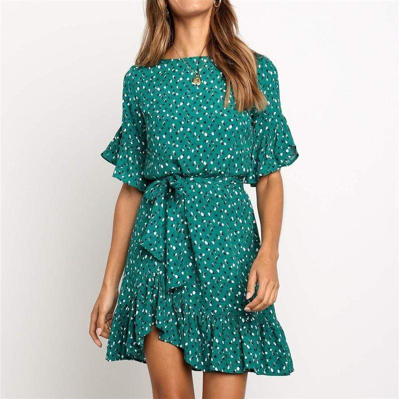 Classy Round Neck Floral Pattern Ruffled Belted Dress