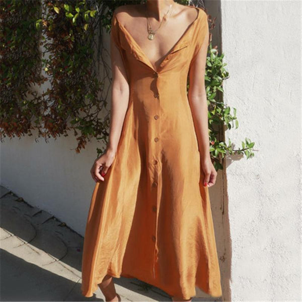 Sexy V Collar Buttons Solid Color Maxi Dresses
