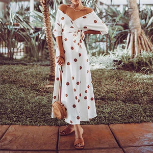 Sexy Exposed Shoulder Wave Point Printing Maxi Dresses