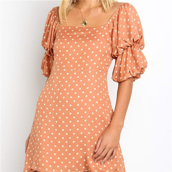 Women's Fashion Square Collar Elastic Pleated Sleeves Dot Printed Dresses