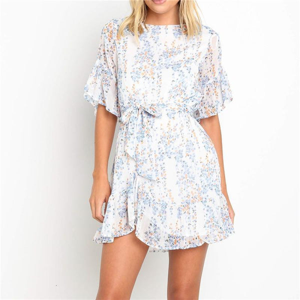 Women's Round Neck Ruffled Five-Points Sleeve Belt Dresses