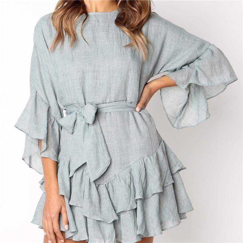 Women's Round Neck Ruffled Slim Solid Color Five-Points Sleeve Dresses