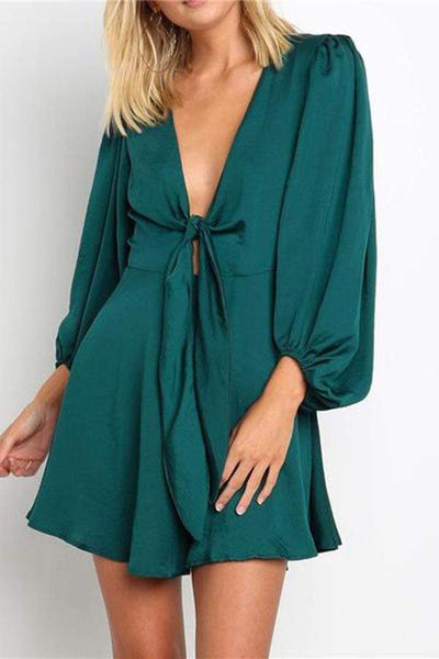 Women's Sexy Deep V-Twisted Collar Long Sleeve Dresses