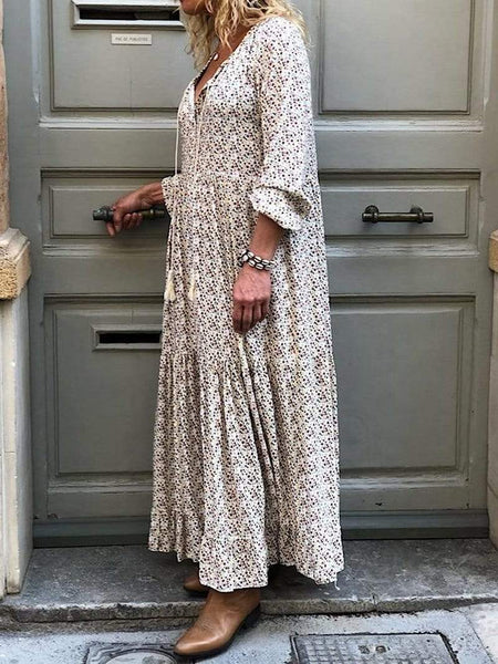 Bohemian Flower Print Long Sleeve V-Neck Routine Dress