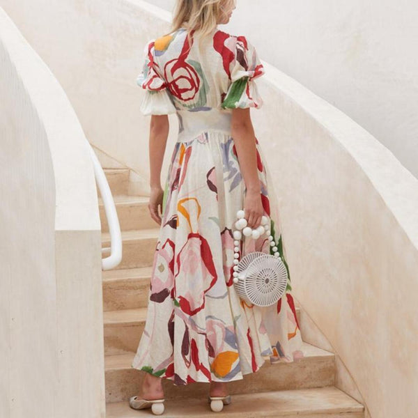 V Neck Single-Breasted Printed Colour Maxi Dresses for Women
