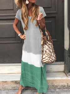 Fashion V-Neck Short Sleeve  Casual Dress