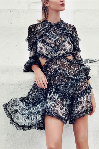 Sexy Printed Hollow Ruffled Long Sleeve Dress