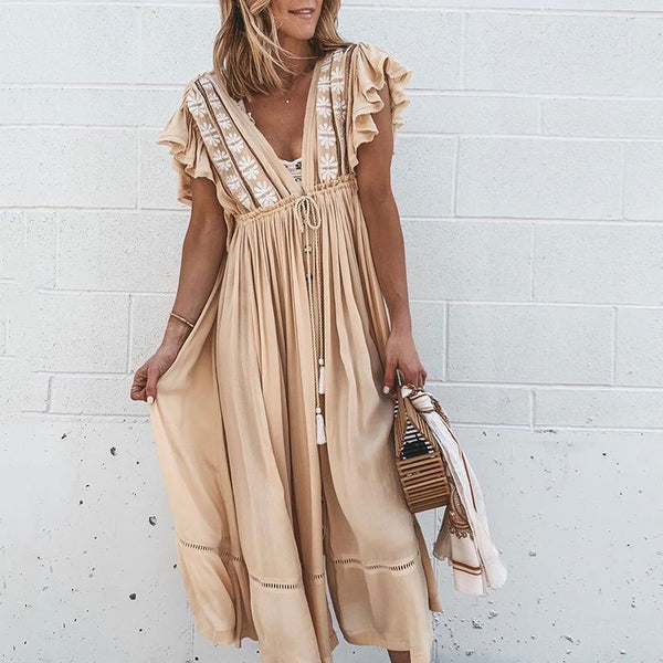 Boho Ruffled Applique Drawstring Waist Casual Dress