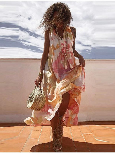 Elegant V Neck Sleeveless Tie Dye Expansion Casual Dress