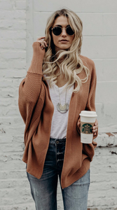 Brown Oversized Batwing Cardigan